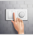 Realistic Hand Pressing Switch vector image