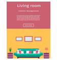 living room interior banner in bright colors for vector image vector image