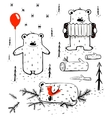 Three Cartoon Bears Sleeping and Playing vector image vector image