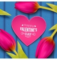 Tulip flowers and heart shaped frame with text vector image vector image