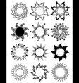 set of stylized graphic sun symbols vector image vector image