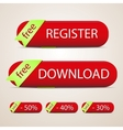 red buttons with ribbon vector image