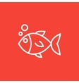 Little fish under water line icon vector image vector image