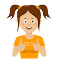 cute teenager girl giving thumbs up vector image