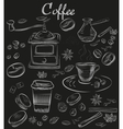 Hand-drawn chalk blackboard decorative coffee vector image