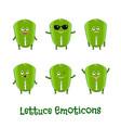 lettuce smiles cute cartoon emoticons emoji icons vector image