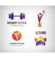 set of sport logos leadership man winner vector image