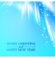 Snow on blue luminous rays vector image