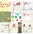 Set of 9 valentines cards with cute birds couples vector image
