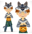 Cute boy dressed as a werewolf vector image