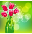 card with red tulips on light green bokeh vector image vector image