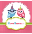 Birthday card with two owls vector image vector image