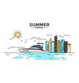 flat line design hero image - yacht vector image
