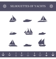 Ship sailing yachts and cruise boats silhouette vector image