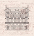 drawing two-storey house in baroque style vector image vector image