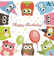 Birdhday card with cute owls vector image vector image