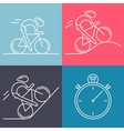 Set of 4 linear icons of cycling race stage types vector image