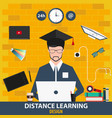 distance learning online education design vector image
