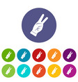 hand showing victory sign icons set flat vector image