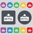 hotel icon sign A set of 12 colored buttons Flat vector image