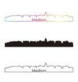 Madison skyline linear style with rainbow vector image