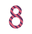 number eight design with diagonal colorful striped vector image