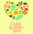 summer objects set in heart silhouette enjoy vector image