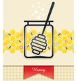 jar with honey and spoon vector image