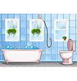 Bathroom with bathtub and toilet vector image