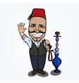 Turkish man with hookah waving hand vector image