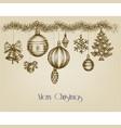 vintage christmas ornaments hand drawn garland vector image