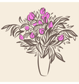 Tulips in vase Sketch drawing in vintage style vector image