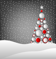 Christmas card with abstract tree and snowy vector image