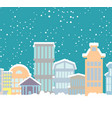 winter christmas city buildings in snow snowfall vector image
