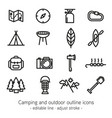 camping and outdoor outline icons - editable line vector image