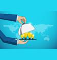 business hands open cloche to serve lightbulbidea vector image