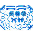 A set of blue ribbons vector image