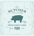 butcher american shop label design with pork farm vector image