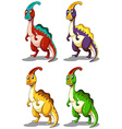 Dinosaur in four colors vector image