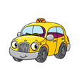 funny small taxi car with eyes vector image