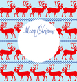 Greeting card Merry Christmas with reindeers vector image