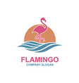 pink flamingo emblem vector image