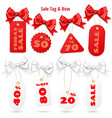 set of white and red sale price tags and lables vector image