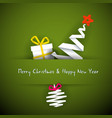 simple red christmas card with gift tree and vector image