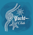White lettering yacht club rope vector image