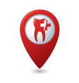 Dental clinic icon on red map pointer vector image vector image
