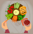 vegetables and hummus with beer vector image