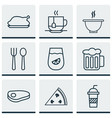 set of 9 food icons includes chicken fry bowl vector image