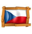 czech republic flag in wooden frame vector image