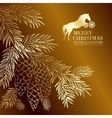 Gold christmas fir and pinecone vector image